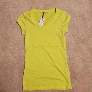 Basic Bright Green Yellow V Neck Shirt